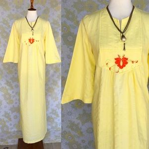 True Vintage🌼70s Canary Yellow Embroidered Caftan